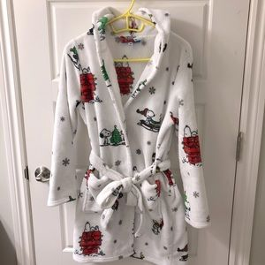 Peanuts Snoopy and Woodstock hooded Christmas Bathrobe by Berkshire size S/M